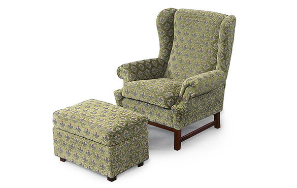 Oxford stol-pall grön fril